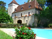 Character house in a village with tennis court, swimming pool, shops
